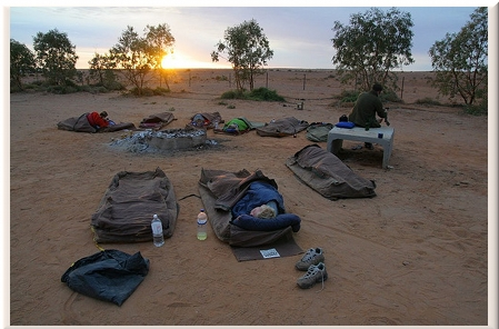 Sleeping in swags, William Creek, South Australia