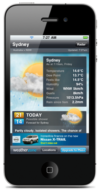 Australian weather iPhone app