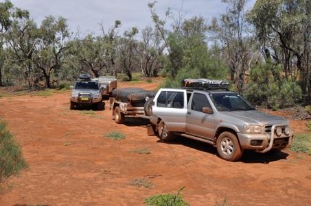 Oodnadatta Track, muddy cars after rain!